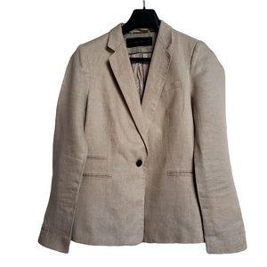 ZARA BASIC Beige Linen Blazer L